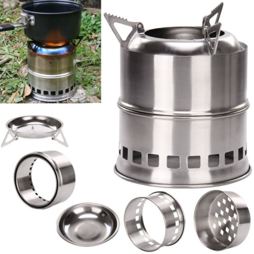 Portable Wood Burning Stove Stainless steel Alcohol Stove Party Outdoor UK Sell