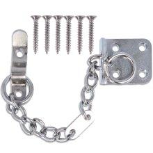 NARROW SECURITY DOOR CHAIN CHROME HEAVY DUTY Metal Slide Lock Catch Lock Guard