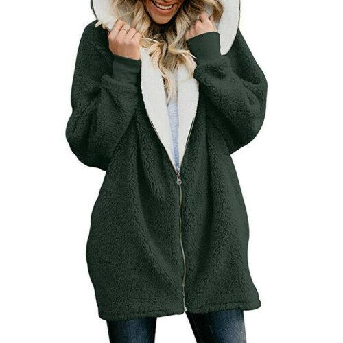 (Green, M) Women Teddy Bear Fluffy Hooded Coat Parka Zip Up Long Hoodie Jacket