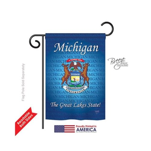 Breeze Decor 58105 States Michigan 2-Sided Impression Garden Flag - 13 x 18.5 in.