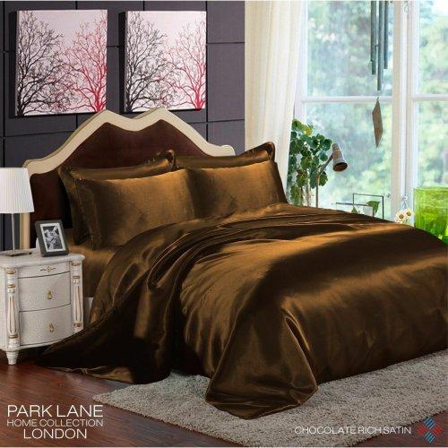 (KING, CHOCOLATE) 6PCS Satin Silk Duvet Cover Bedding Set