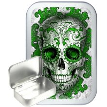 Green Candy Skull 50ml Silver Hinged Tobacco Tin, Gift Tin