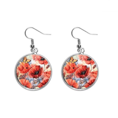 Colourful Butterfly with Flowers Ear Dangle Silver Drop Earring Jewelry Woman
