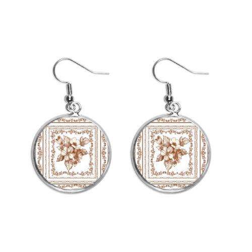 Baroque Art Flower Frame Modern Pattern Ear Dangle Silver Drop Earring Jewelry Woman