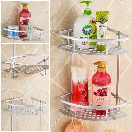 2 Tiers Shower Bathroom Shelf Corner Metal Shampoo Storage Shelves