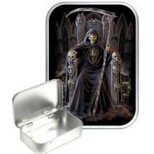 Grim Reaper Throne 30ml Silver Hinged Tobacco Tin, Gift Tin