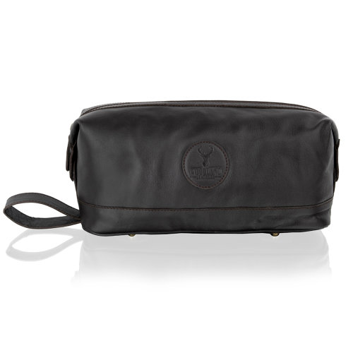 """Woodland Leather Brown Leather Wash Bag 13.0"""" Easy Access Central Zip Compartment With External Carry Handle"""