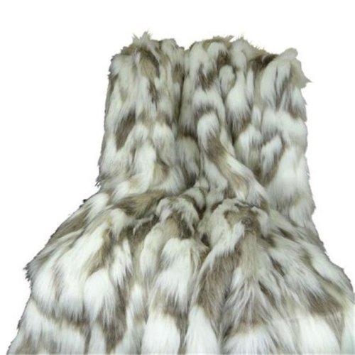 Tibet Faux Fur Blanket, Ivory & Gray - 102 x 116 in.
