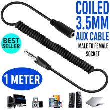 1M 3.5mm Jack Extension Cable Lead Stereo Plug to Socket AUX Headphone