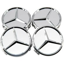 4x New Mercedes Silver Alloy Wheel Centre Hubs Caps 75mm with Chrome