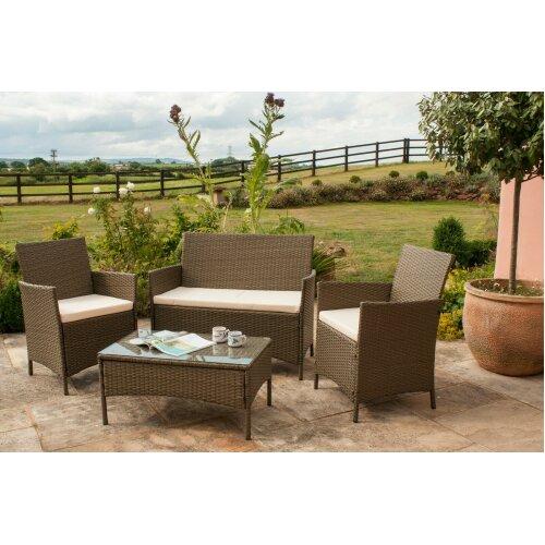 4pc Comfy Living Rattan Garden Furniture Set