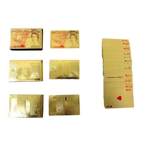 24K Pound Euros Dollars Gold Plated Playing Card