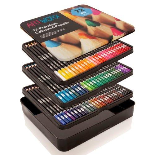 Artworx 72 Premium Pencil Crayons in Tin