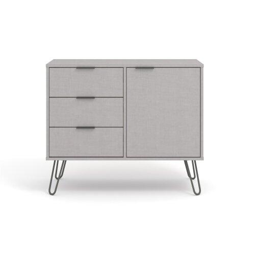 Grey Sideboard Cupboard With 1 Doors, 3 Drawers Living Room Storage Furniture