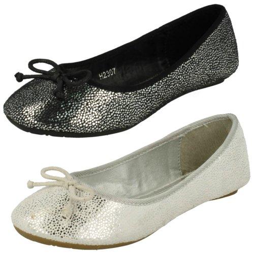 Girls Spot On Ballerina Bow Detail Flat Shoes