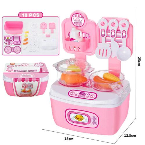 18-Piece Children's Kitchen Play Set Pink