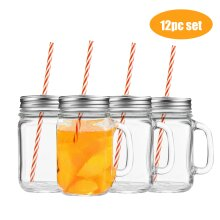 12 Mason Drinking Jars Glass Summer Party Cocktail Smoothie BBQ Lid Straw