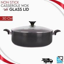 30 Cm Non Stick Casserole Wok Flat Bottomed Deep Frying Pan Glass Lid