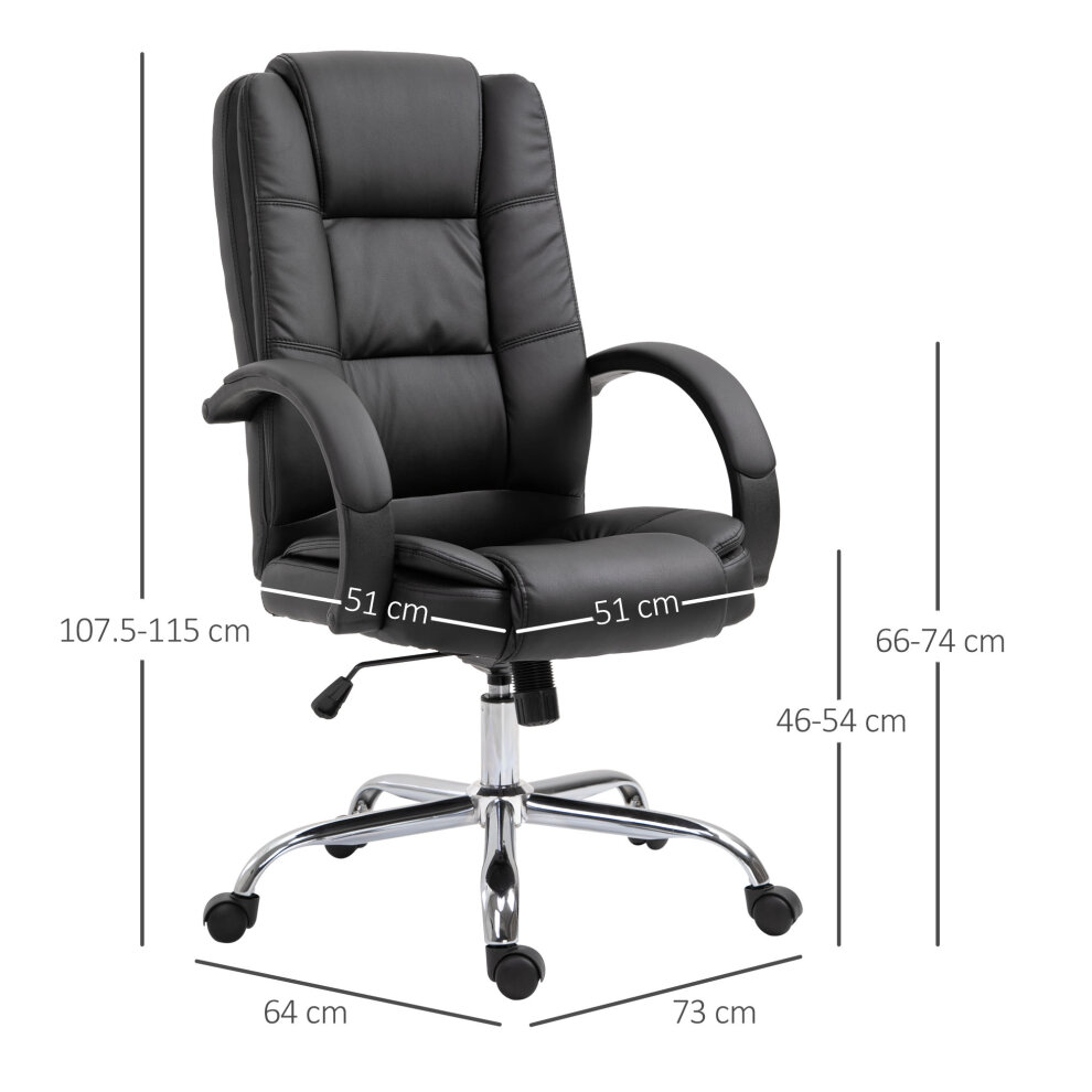 Black High Back PU Leather Executive Office Chair Ergonomic Chair