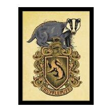 Official Harry Potter Framed Hufflepuff Crest Print