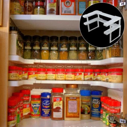 2 Tier Kitchen Herbs Spice Rack Cupboard Shelf Storage Organiser Display Stand