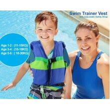 Trading Innovation Kids Children Boys Girls Life Jacket Swimming Floating Swim Zip Vest Jacket (Navy Blue)