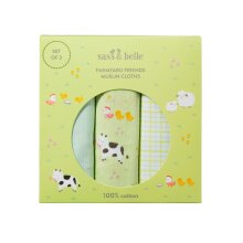 Sass & Belle Farmyard Friends Baby Green Large Muslin Cloths