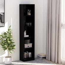 5-Tier Book Cabinet High Gloss Black 40x24x175 cm Chipboard