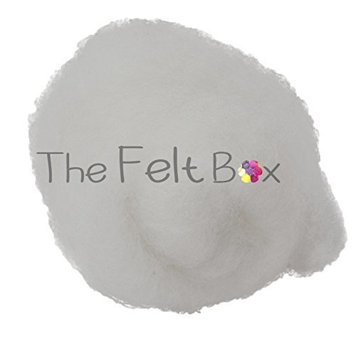 Carded Wool For Felting, Needle Felting Wool, Wool Batt, Craft Wool, Single Shade, 100 grams 3.5 Oz (Snow white (100))