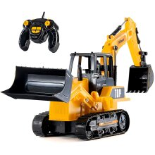 Top Race Remote Control Digger For Kids - RC Excavator Tractor Construction Toy With 8 Channel Full Functional Backhoe Loader With 3D Lights & Sound