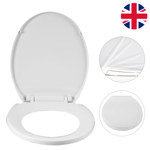 White Toilet Seat With Hinges Oval Shell Shape WC Bathroom Washroom