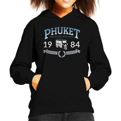 (Medium (7-8 yrs), Black) Phuket 1984 Middle School Kid's Hooded Sweatshirt