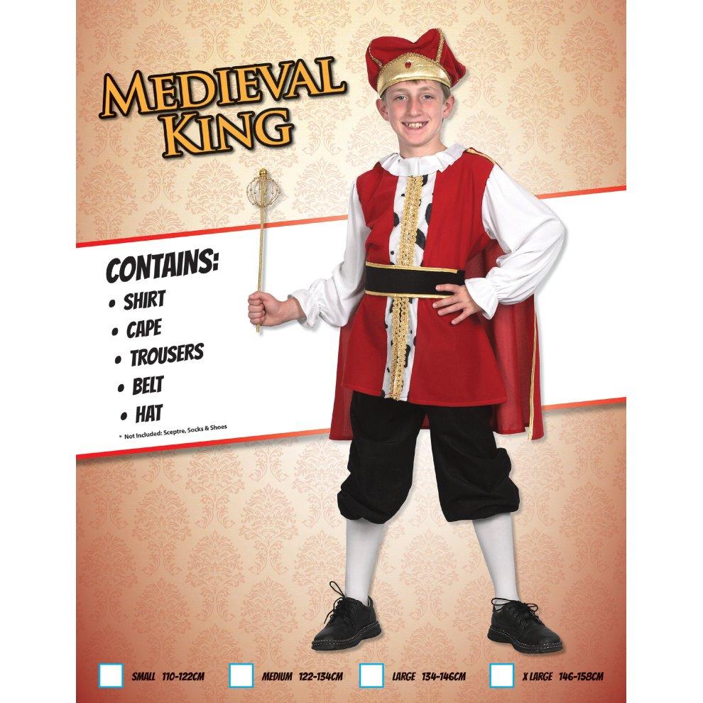 Boys Medieval King Tudor Book Week Kids Child Fancy Dress Costume Outfit