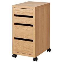 Ikea MICKE Drawer unit on castors, oak effect 35x75 cm