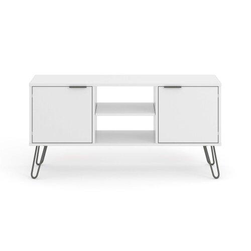 White 2 Door 2 Drawer Flat Screen TV Unit Stand Cupboard Living Room Storage
