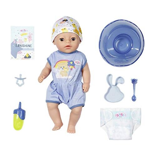 Zapf Creation 827338 Baby born, Soft Touch Little Boy Doll with Lifelike Functions and Lots of Accessories, Soft Touch Surface, 36 cm, Blue