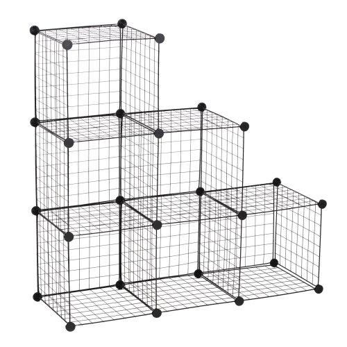 HOMCOM DIY 6 Cube Metal Wire Rack Interlocking Storage Cabinet Organiser Display