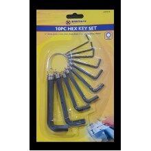 Strong 10 PCS Metric Imperial Hex Hexagon Allen Alan Key Wrench Set Keyring Holder