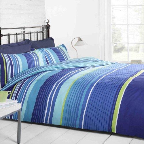 Cambridge Stripe Duvet Set in Blue
