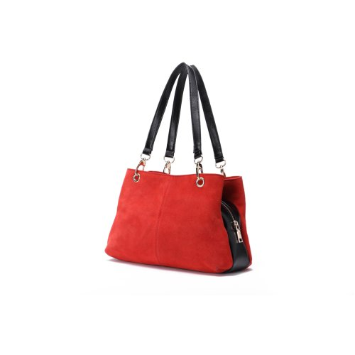"""Woodland Leather Red Suede Twin Handle Central Compartment 12.0"""" Hand Bag"""