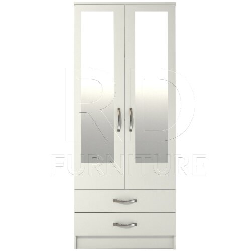 Ready assembled Classic 2 Door 2 Drawer Mirrored Wardrobe White