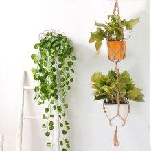 2 Layer Jute Rope Plant Hanger Hanging Basket Macrame Pot Holder