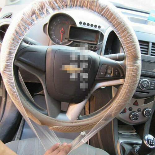 5pcs Universal Clear White Disposable Steering Wheel Covers For Car Truck