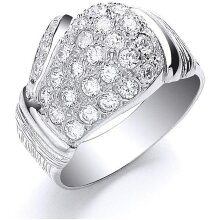 Boxing Glove Gents Ring Men's Solid Sterling Silver With Gemstones 925 Hallmark