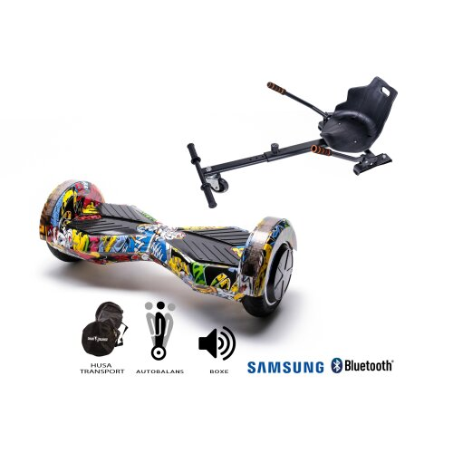 Package Hoverboard Smart Balance™ Premium Brand, Transformers HIP HOP+ Hoverseat, 8 inch Bluetooth wheels, Samsung battery, Built-speakers,700W,LED
