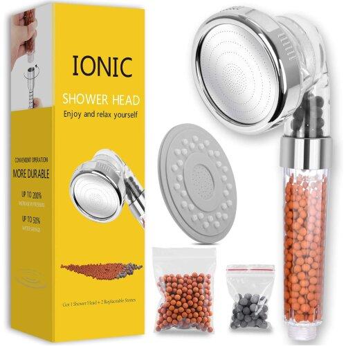 Ionic Shower Head Handheld High Pressure Water Saving 3 Modes Adjustable Filter