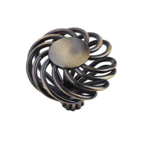 2 Sizes Aire Round Swirl Knob, Antique Brass or Brushed Nickel