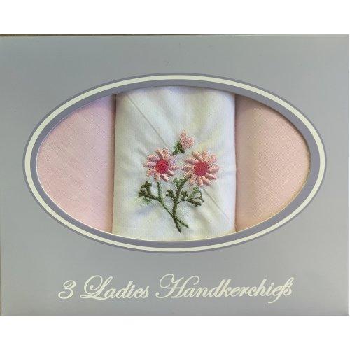 Ladies Women Plain Cotton Handkerchiefs Hankies 3 Pack Gift Box Embroidered