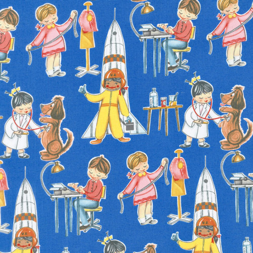 Fat Quarter You Go Girl Blue Play Careers Jobs Cotton Quilting Sewing Fabric