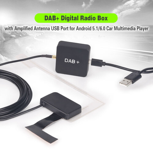 Erisin DAB+ Digital Radio Box with Amplified Antenna for Android 7.1-10.0 Car Stereo